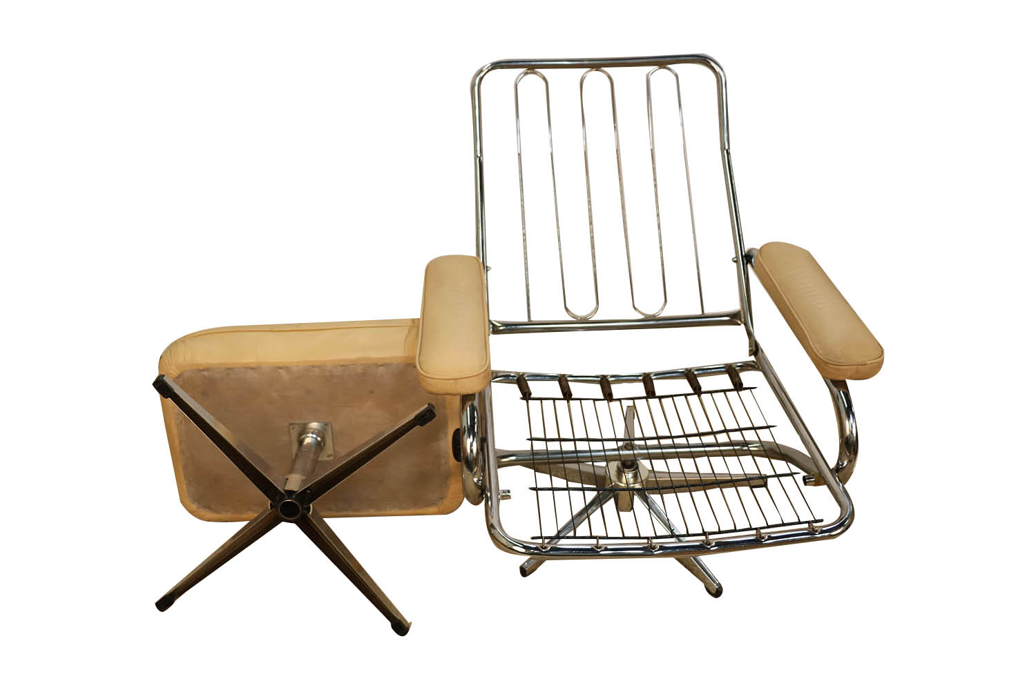 Mid Century Modern Chrome Amp Leather Recliner Chair And