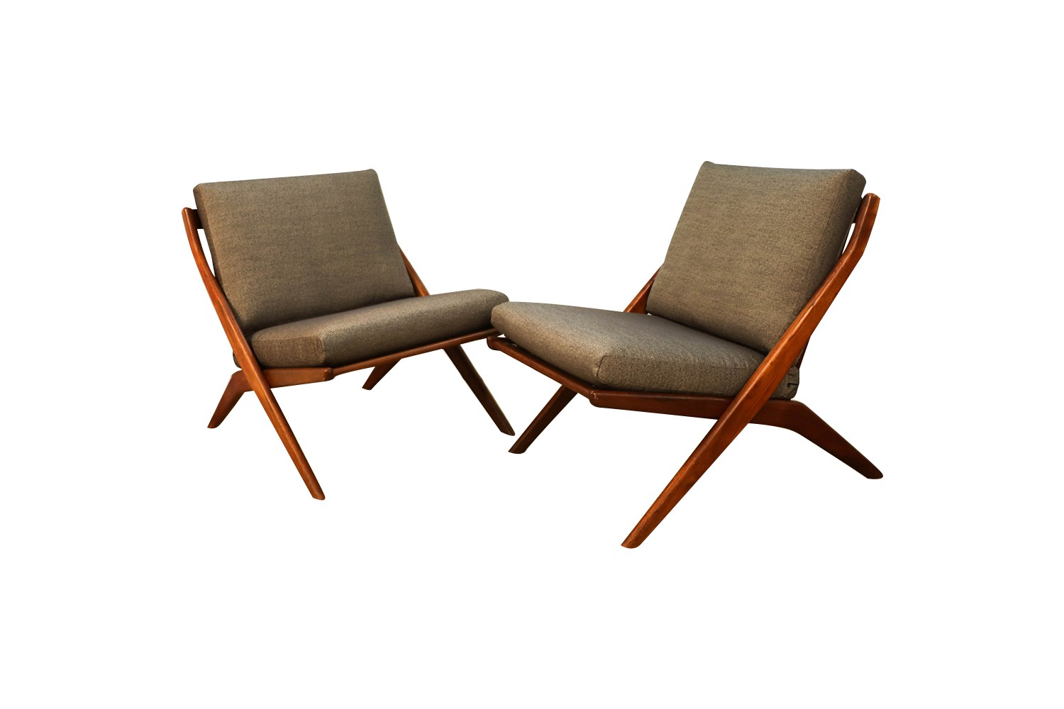 Brilliant Mid Century Modern Folke Ohlsson Dux Scissor Lounge Chairs Pair Gmtry Best Dining Table And Chair Ideas Images Gmtryco