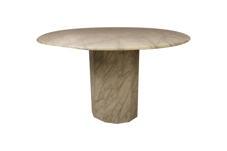 Mid Century Modern Round Italian Carrara Marble Dining Table Mary Kay S Furniture