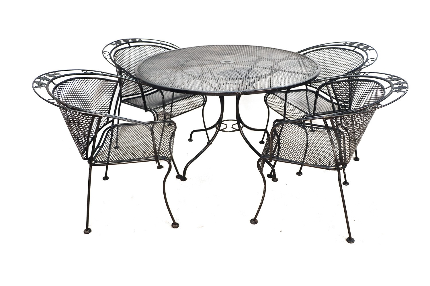 Mid Century Wrought Iron Patio Set In The Style Of Russell Woodard