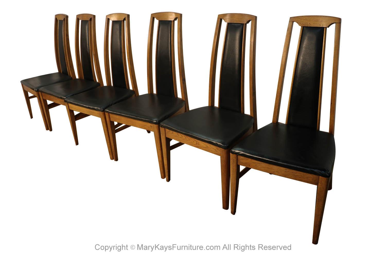 Set Of Six Mid Century Modern High Back Walnut Dining Chairs