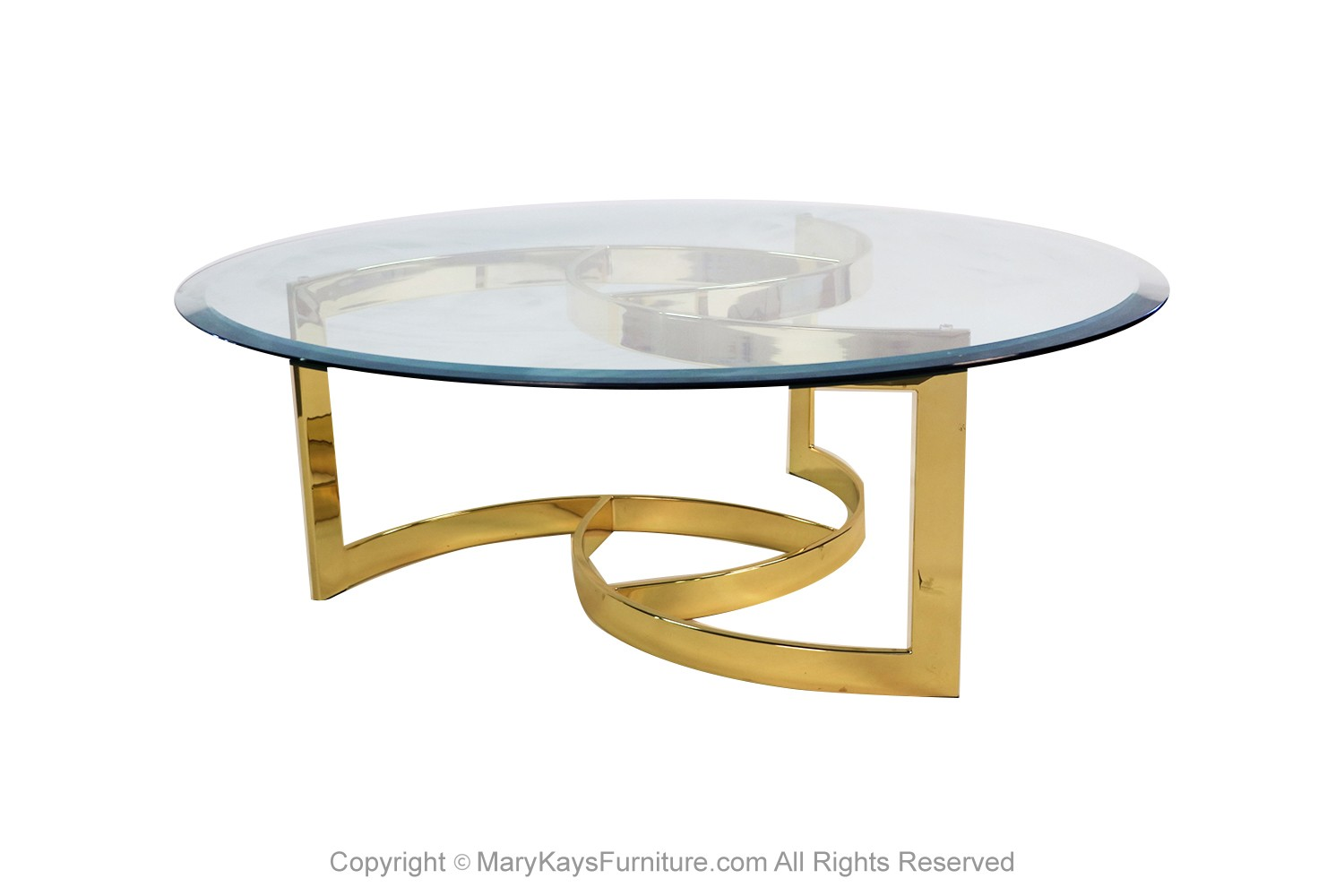 Mid Century Brass Swirl Base Round Glass Top Coffee Table