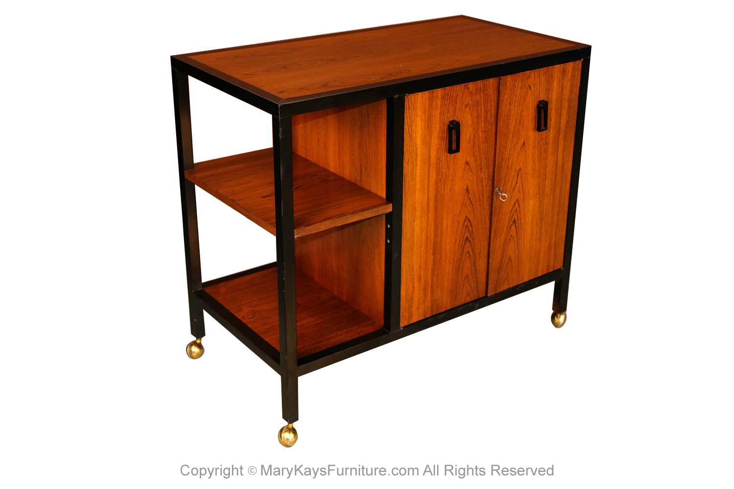 Picture of: Mid Century Modern Danish Rosewood Rolling Bar Cart Cabinet